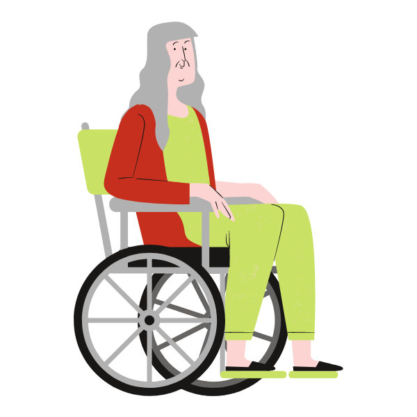 An illustration of a woman who has a physical health condition and is using a wheelchair.