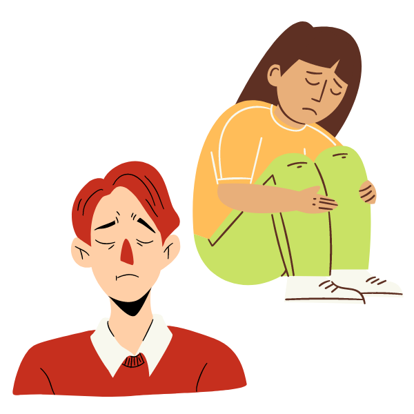 An illustration of two people who appear to be sad.
