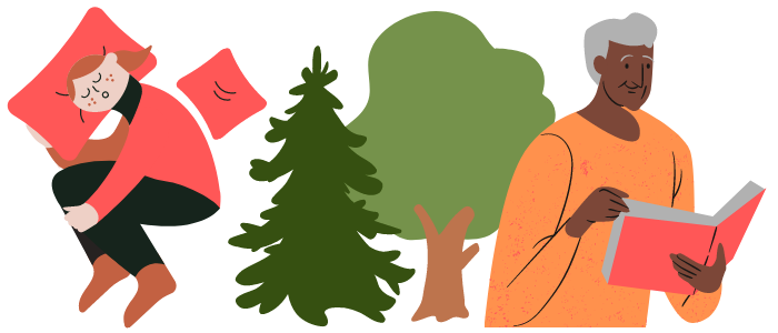 An illustrated graphic shows a girl sleeping, two trees and a man reading a book.