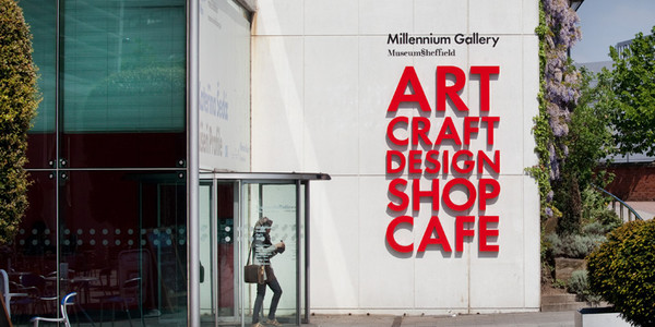 A photo of the entrance to Millenium Gallery in Sheffield town centre