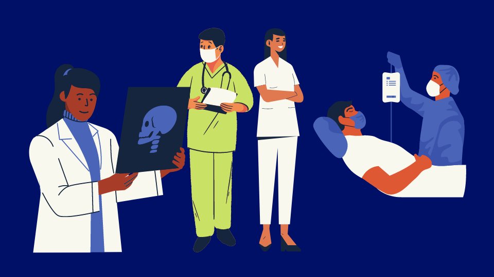 A set of four illustrations of people working in healthcare. A woman looks at an x-ray, a man walks wearing a mask and a stethoscope, a woman smiles wearing a set of white scrubs, a man in a mask is given an IV by a person in full PPE.